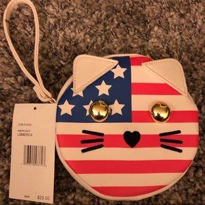 Betsey Johnson American Flag Cat Wristlet